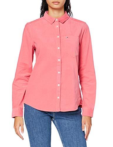 Tommy Jeans Damen TJW Regular Cord Shirt Hemd, Glamour Pink, Small