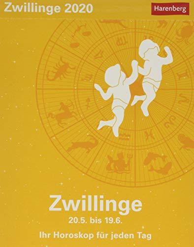 Zwillinge Sternzeichenkalender. Tischkalender 2020. Tageskalendarium. Blockkalender. Format 11 x 14 cm