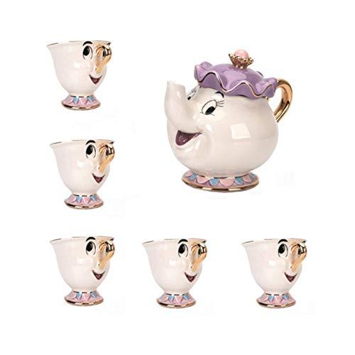 RFHK Juego de té de la Bella y la Bestia Mrs Potts Tetera Chip Cup Sugar Bowl Pot Cup Set Reloj Precioso cumpleaños