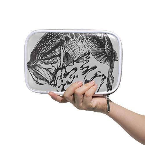 Stationäre Box Hand gezeichnete Bass Fish Beauty Einkaufstasche Kosmetische Bleistiftetui Multifunktionale reisende Kulturbeutel für Frauen für Männer Frauen