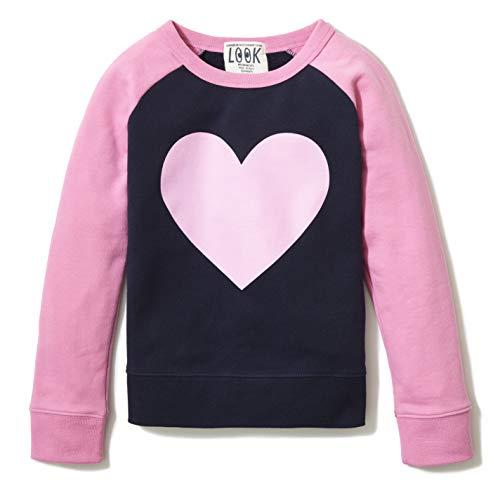 Amazon/ J. Crew Brand - LOOK by Crewcuts Girl's Crewneck Raglan Sweatshirt, Navy, Large (10)