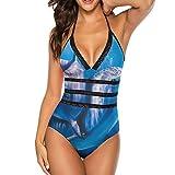 Bikini Sexy Traje de baño de una Pieza para Mujer, Top de Bikini Negro con Cuello Halter Ajustable para Mujer, Acuario Azul Marino con Delfines bajo el Agua (Talla S)