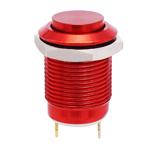 Twidec /12mm 1/2' Waterproof Red Metal Shell Momentary Raised Top Push Button Switch DC/AC 36V 2A SPST 1NO Start Button for car Modification Switch(Quality Assurance for 1 Years) M-12-R-G