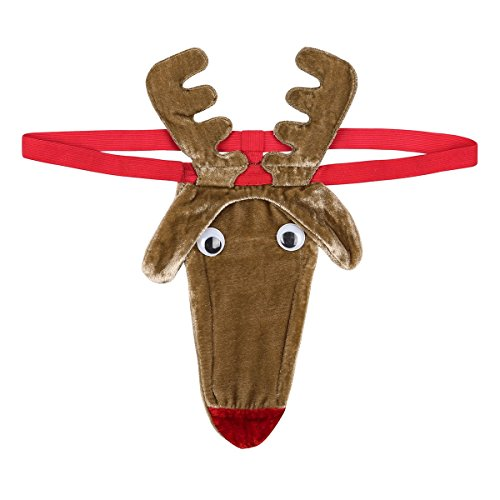 Freebily Christmas Reindeer Patterns Men Novelty G-String Thong Underwear for Stag Party (Brown, One Size)