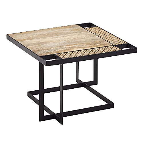 FineBuy Couchtisch Mango Massivholz/Rattan 60x40x60 cm Hell Sofatisch | Wohnzimmertisch Quadratisch mit Metallbeine | Tisch Braun Beistelltisch Holz/Metall Schwarz