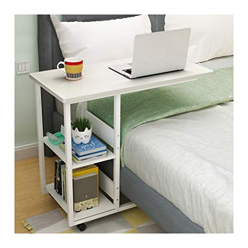 RKRXDH Portable Side Table Overbed Table With Castors Home Office Desks Sofa For Living Room Bedroom overbed table (Color : White, Size : 80x40x75cm)