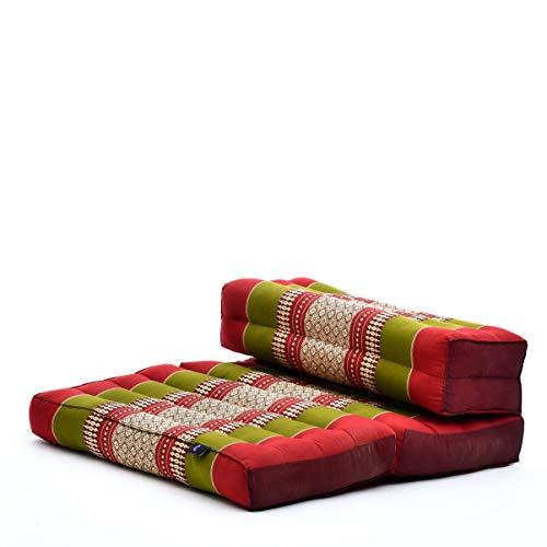 Leewadee Faltbarer Meditationssitz Yoga Sitzkissen platzsparendes universelles Meditationsset ökologisches Naturprodukt, Kapok, grün rot