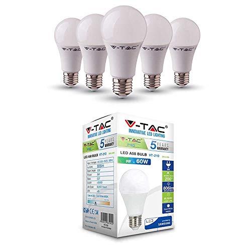 V-TAC E27 LED Lampe, 9W (ersetzt 60W), Kaltweiß, 5er-Pack