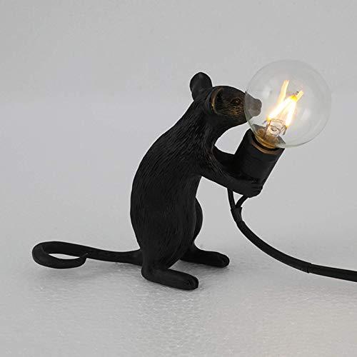 Lámpara de escritorio Lámpara de mesa con forma de ratón, lámpara de mesa de resina, iluminación junto a la cama, decoración de la habitación del hogar (color:acostarse, tama?o:blanco / Reino Unido)