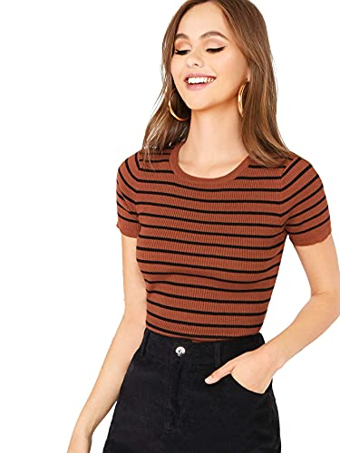 Milumia Women's Casual Multi Striped Ribbed Short Sleeve Solid Tee Knit Top Rusty Brown Multicolored Medium