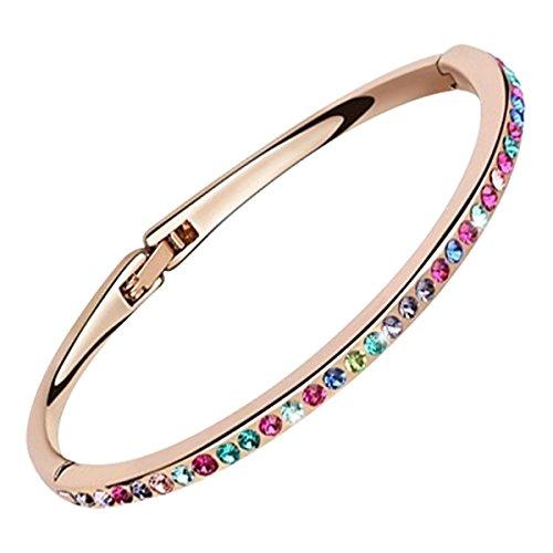 GWG Jewellery Pulseras Mujer Regalo Pulsera Brazalete Pequeña, Chapada en Oro Rosa 18K Cubierta con Cristales Multicolores Redondos de Diseño Clásico Rígido para Mujeres