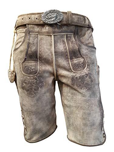 Alpenlife Kurze Herren Lederhose mit beidseitigen Messertaschen und Leder Gürtel, Braun, Büffel Leder, Empire (60, Hellbraun)