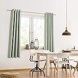 Blumtal 2er-Set Gardinen Verdunkelungsvorhang Blickdicht - Eleganter Vorhang mit Ösen für Schlafzimmer, 265 x 140 cm, Sommergrün - 2