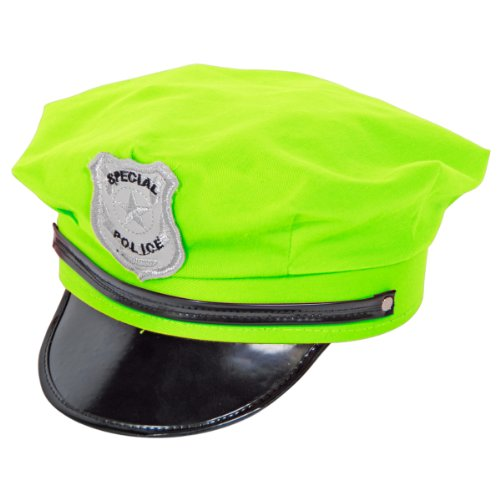 Folat Fancy Kleid Polizei Hat–Neon Grün