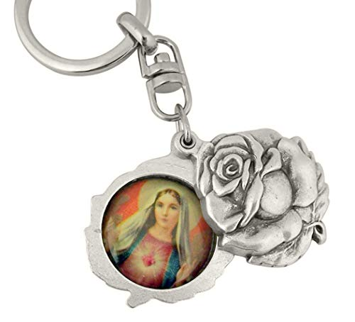 Religious Gifts Silver Tone Immaculate with Sacred Heart Mary and Jesus Sliding Rosebud Medal Key Chain, 1 3/4 Inch