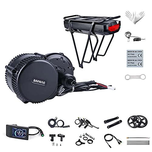 Bafang BBS01B 36V 250W Mittelmotor Kit EBike Conversion Kit Elektrofahrrad Motor Elektrischer Antrieb Umbausatz, Optionaler Hailong Akku 36V 7,8/10/15,6/19,2/21/22,5Ah, 20Ah/22,5Ah Gepäckträger Akku
