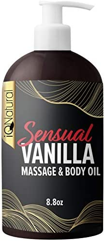 Iq Natural Edible Massage Oil for sensual massage infused with real vanilla relaxing blend of product image