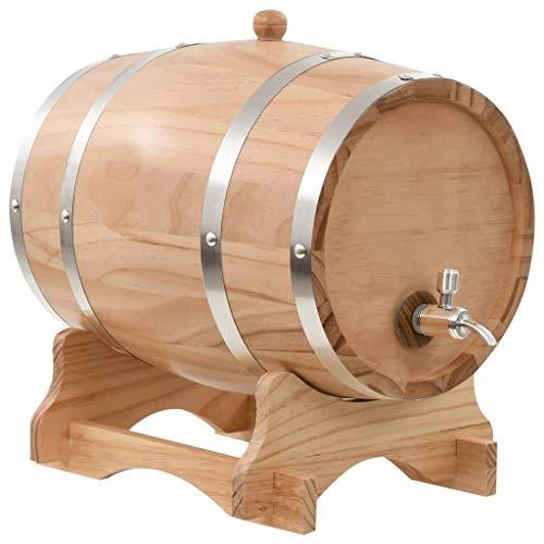 Dispensador de barril de vino de madera de roble vintage Barril de envejecimiento de roble para almacenar whisky,cerveza,vino,bourbon,tequila,ron,salsa picante,bricolaje a su gusto (Pinewood,12L)
