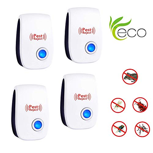 PERELER Ultrasonic Pest Repeller 2019 Newest Pest Control Ultrasonic Repellent - 4 Packs Electronic Pest Rpeller Plug in Indoor Mouse Repellent - Best Pest Controller for Mice,Mosquito,Insects,Spider