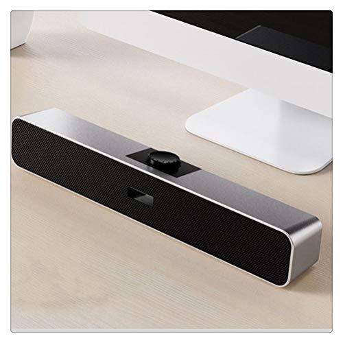 YLSZZTT USB Inalámbrico Bluetooth Altavoz para Computadora Bluetooth 5.0 Subwoofer Estéreo De 360 ° Sonido Envolvente para PC Teléfono Portátil Tableta MP3 MP4 (Color : Silver)