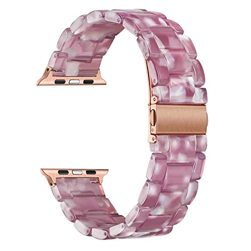 LANGY Cinturino in Ceramica Imitazione per iwatch Serie 5 4 3 2 1 44Mm 42Mm 40Mm 38Mm Cinturino in Resina Cinturino da Polso Bracciale