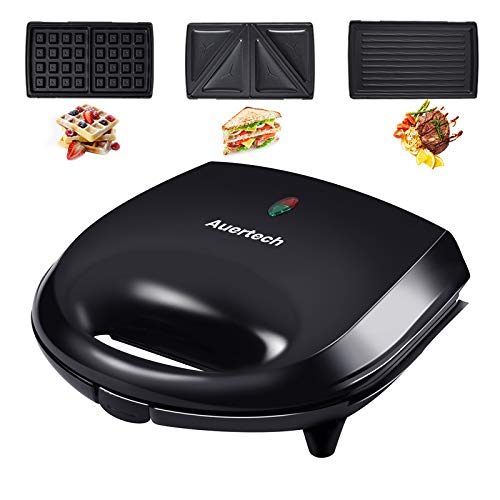Auertech Sandwich Maker, 3-in-1 Waffle Maker 800W Panini Press Grill with Detachable Non-stick Plates, Indicator Lights, Cool Touch Handle (3 in 1)