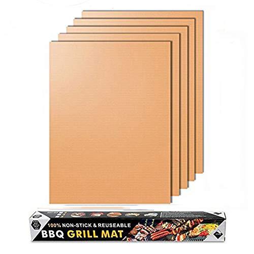 Merrday Parrilla de Cobre Mat, 5-Pack Heavy Duty Grill mágico Parrilla Alfombrillas antiadherentes