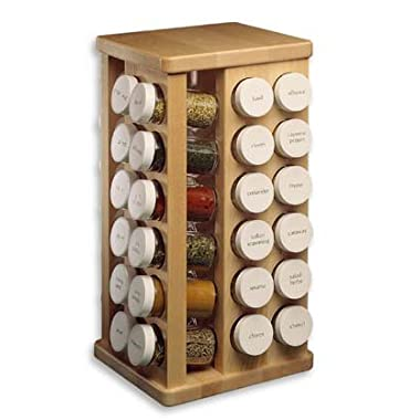 J.K. Adams Sugar Maple Wood Spice Jar Carousel, 48 Glass Jars, 8X16-Inch