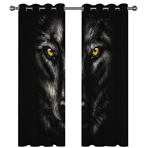 Cortinas Salon Dormitorio Moderno Cortinas Ventana Opacas termicas aislantes Impresión Digital 3D - Estampado de Lobo Animal Negro 300 x 270 CM (Ancho x Alto)
