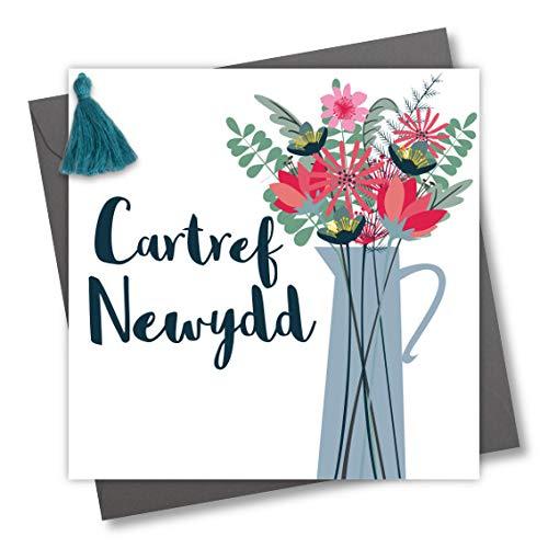 Tassel Versierd Welsh taal Nieuwe Huis Wenskaart, Nieuwe Huis, Vaas van Bloemen