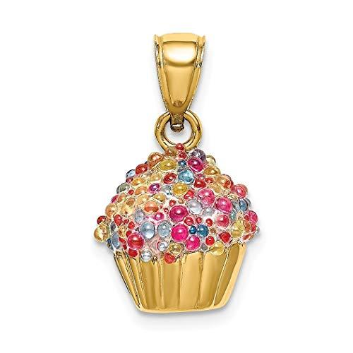 JewelryWeb - Colgante para Magdalenas de 10 mm y Oro de 14 Quilates con glaseado de Cuentas de Colores