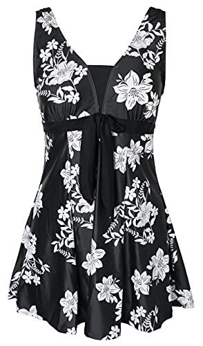 Ecupper - Costume da bagno intero da donna, modello floreale, taglia grande 2-noir L