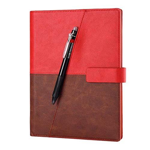 Mnory Retro Clásico Cuaderno A5 Multifuncional Libreta Hardcover Office Blocs de Notas para Mujer y Hombre Regalos, con Bolsillo (Rojo)