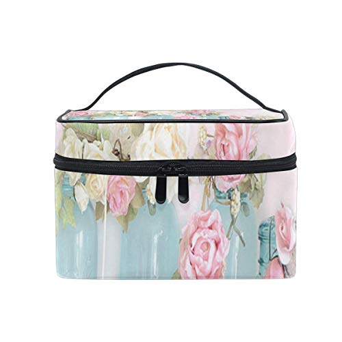 Trousse de maquillage Dreamy Shabby Chic Pink White Roses Cosmetic Bag Portable Large Toiletry Bag for Women/Girls Travel