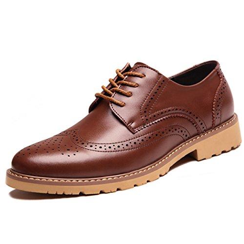 Mens Classic Wingtip Modern Brogue Leather Shoes, Lace up Formal Dress Oxford Shoes for Men (9 D(M) US / 42 M EU, Brwon)