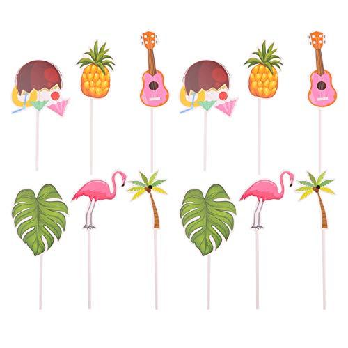 NUOBESTY 48 Stück Kuchendeckel Geburtstag Flamingo Ananas Coco Tropischen Cupcake Hawaii Topper Ornament Strandkuchen Liefert Partydekorationen Grün Rosa