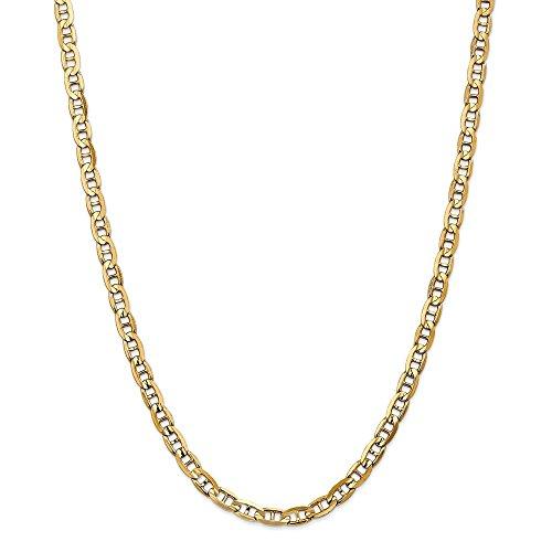 Collar de cadena de oro amarillo macizo de 14 quilates para hombres (5,25 mm, 50,8 cm) para hombres y mujeres