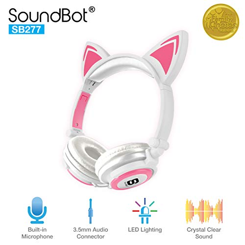 SoundBot SB277 Flashing Glowing LED Cat Ear Fordable Wired Over-Ear Headphone Headset w/Crystal Clear Stereo Sound, Built-in Mic, 3.5mm Audio Jack for Cosplay (WHT/PNK)