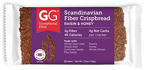 GG Scandinavian Fiber Crispbread, Raisin & Honey, 3.5 Oz (Pack of 15)