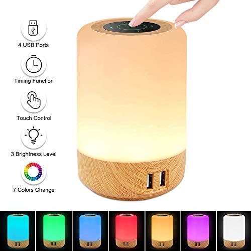 otumixx LED Nachttischlampe Touch Dimmbar Atmosphäre Tischlampe mit Warmweißes Licht, 4 USB-Anschlüsse, 3 Helligkeitsstufen, 7 Farben und 256 RGB Farbwechsel Nachtlicht für Baby Kinder Schlafzimmer