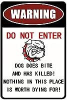 警告犬は噛まないで殺した超耐久性のあるブリキの看板レトロなバーの人々の洞窟カフェガレージ家の壁の装飾看板8x12インチ