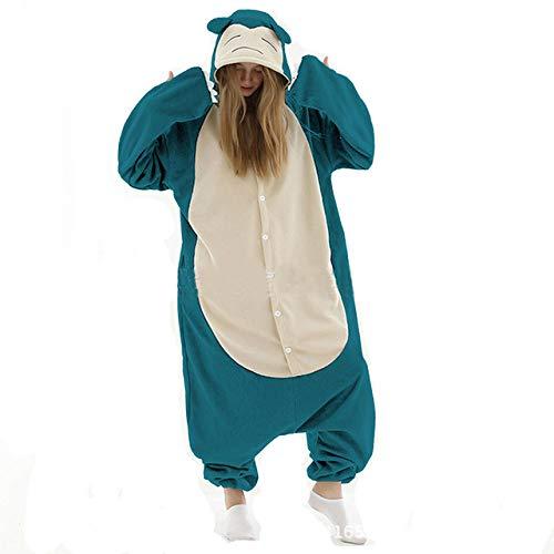 WFE&QFN Pijamas navideñosAnimal Adultos Gato Oso tiburón Onesies Pijama Mapache Zorro Disfraces dragón Mono, Snorlax Azul, L