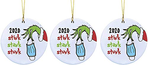 MFLB Grinch Hand Christmas Ornament 2020, Personalize Stink Stank Stunk Decorative Hanging Ornaments,Survivor Christmas Tree Decorations Xmas Creative Gift for Family Friends (3PCS)