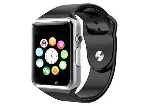 CursOnline Orologio Unisex da Polso Cellulare Telefono Smartwatch A1, Cinturino in Silicone, Sim, Micro SD, Touchscreen Menù in Italiano Colore Nero, Compatibile con Tutti i Dispositivi Bluetooth.