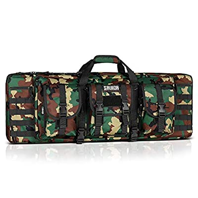 Savior Equipment American Classic Tactical Double Long Rifle Pistol Gun Bag Firearm Transportation Case w/Backpack - 51 Inch M81 Woodland Camo