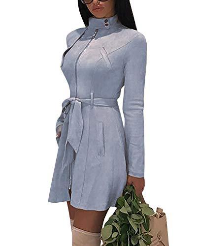 Tomwell Damen Winter Faux Wildleder Reißverschluss Jacke Parka Warm Mäntel Winterjacke Waschbar Outwear mit Taschen Blau DE 36