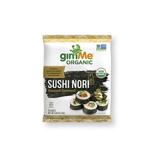 gimMe Snacks | Organic Roasted Seaweed | Sushi Nori | 0.81 Ounce - (1 Pack of 10 sheets) | non GMO, Gluten Free, Keto, Paleo