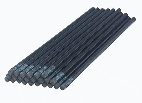ezpencils - Black Barrel Hexagon Pencils with Black Eraser and Black Ferrule - 36 pkg - Non-Smudge Eraser - # 2 HB Lead - Unsharpened - Non-Branded