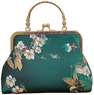 Handmade Retro Floral Print Satin Clutch Bag Vintage Women Dress Evening Wedding Clasp Frame Purse Top Handle Party Handbag