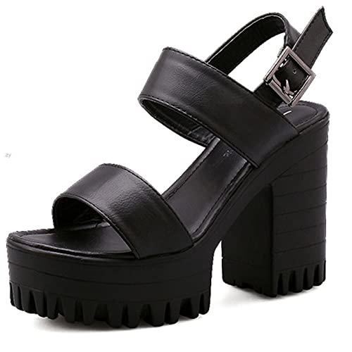 YNSNWBD Gothic Schuhe Mode Damen Sommersandalen Plattform High Heels Frauen Sandalen Gothic Office Punk Reife Schuhe Frauen